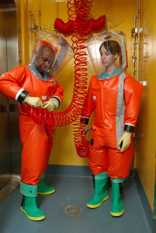 CDC microbiologists are suiting up in order to access the interior of the organization's Biosafety Level-4 (BSL-4) laboratory in Atlanta