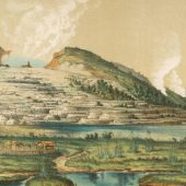 Pink and White Terraces by Lake Rotomahana, North Island, New Zealand Date circa 1866 Picture Alamy SourceAlamy
