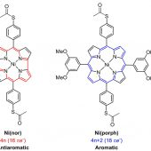 Structures of the molecules used in the study of Fujii and colleagues. left: Antiaromatic norcorrole-based Ni complex, Ni(nor). right: Aromatic Ni porphyrin-based complex, Ni(porph).